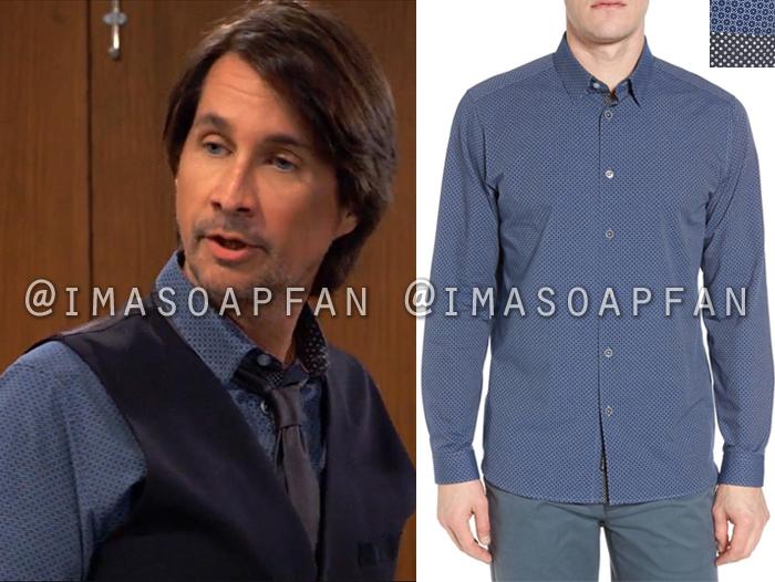 Hamilton Finn, Michael Easton, Blue Geometric Print Shirt, General Hospital, GH