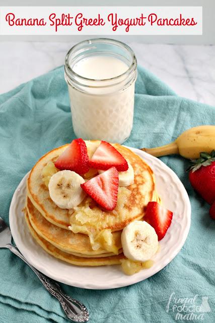 These tasty & filling Banana Split Greek Yogurt Pancakes are chock full of low fat Greek yogurt & milk.
