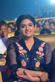 Actress Keerthi Suresh Stills in Blue Long Dress at Nenu Local Audio Launch  0004.JPG