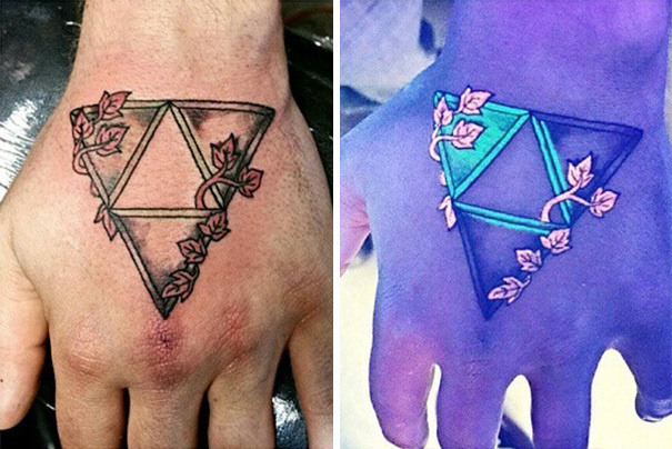 #17. Vines wrapping triangles. - 30 Glow-In-The-Dark Tattoos That'll Make You Turn Out The Lights.