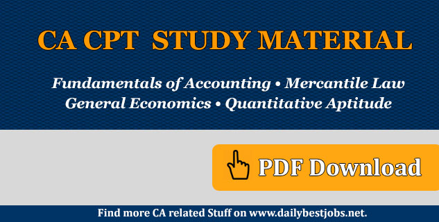 CA CPT Study Material Pdf Free Download 2018-19