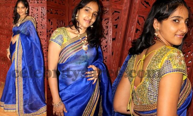 0bf0d9d9d4d11 Organza Saree with Cut Work Blouse - Saree Blouse Patterns
