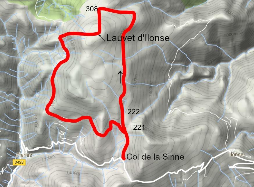 Trail image Col de la Sinne to Lauvet d'Ilonse