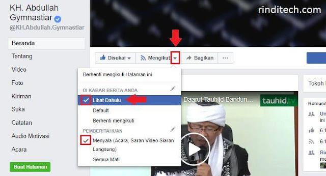 Cara Mengaktifkan Notifikasi Fanspage Prioritas di Facebook