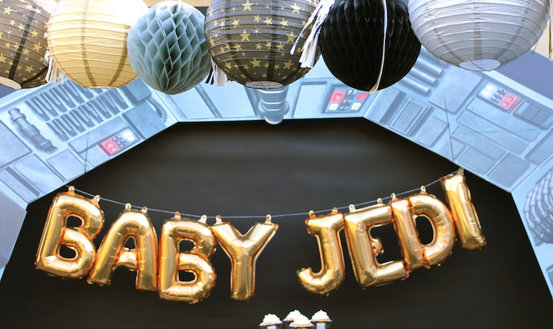 To Make A Bold Statement For Our Star Wars Themed Baby Shower, I Used The  Galaxy Rebellion Arch For Our Party Table Backdrop. I Placed Flat Black  Paper ...