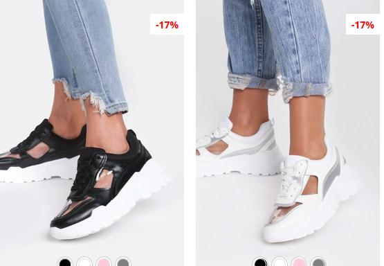 Pantofi sport dama albi, Negri cu talpa groasa si comoda