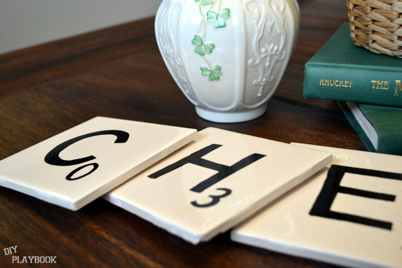 These scrabble coasters are a fun decor piece for any coffee table.