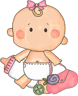 bebita con biberón para baby shower