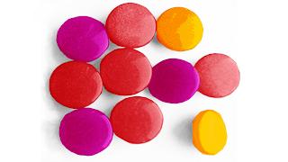 красный, оранжевый и фиолетовый