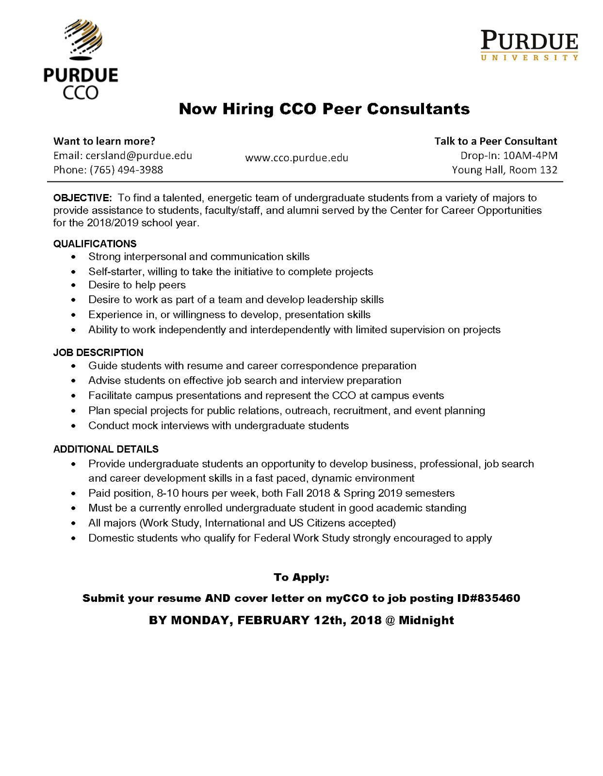 CCO Peer Consultant
