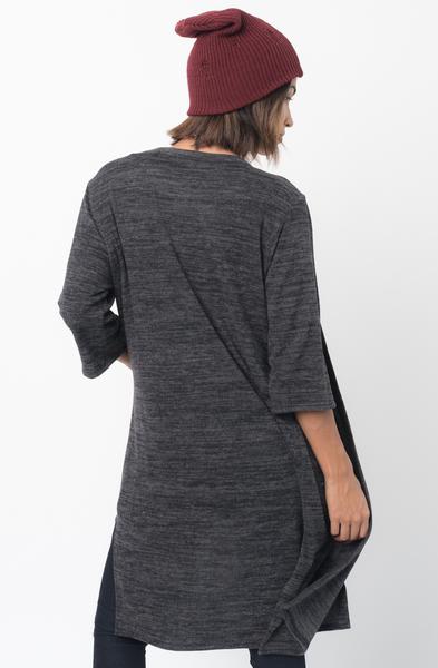 Shop for 3/4 Sleeves Black Front Pockets Maxi Cardigan Online - $30 - on caralase.com