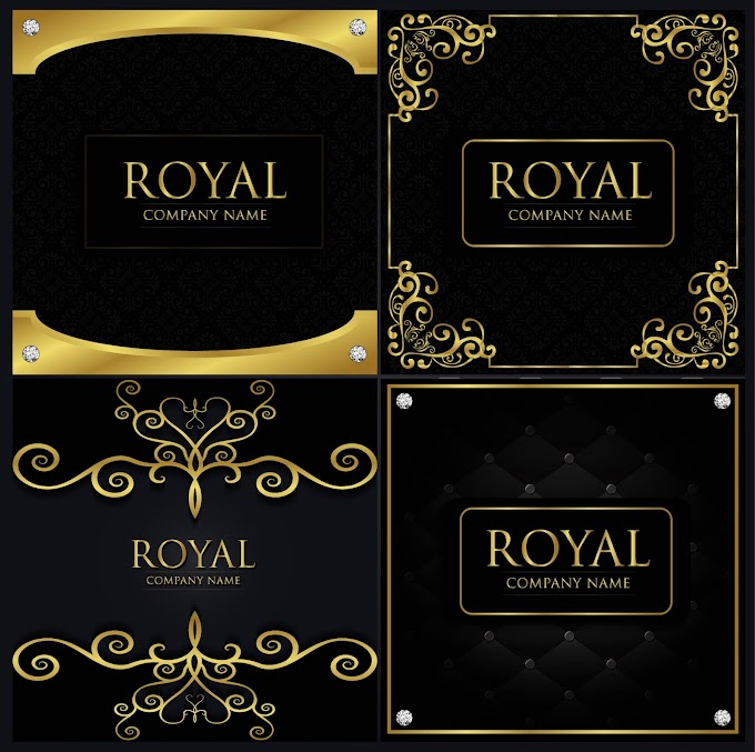 Card cover templates elegant black yellow decoration Free vector