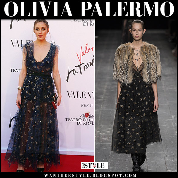 Olivia Palermo in black sheer star embellished gown valentino fall 2016 what she wore rome gala