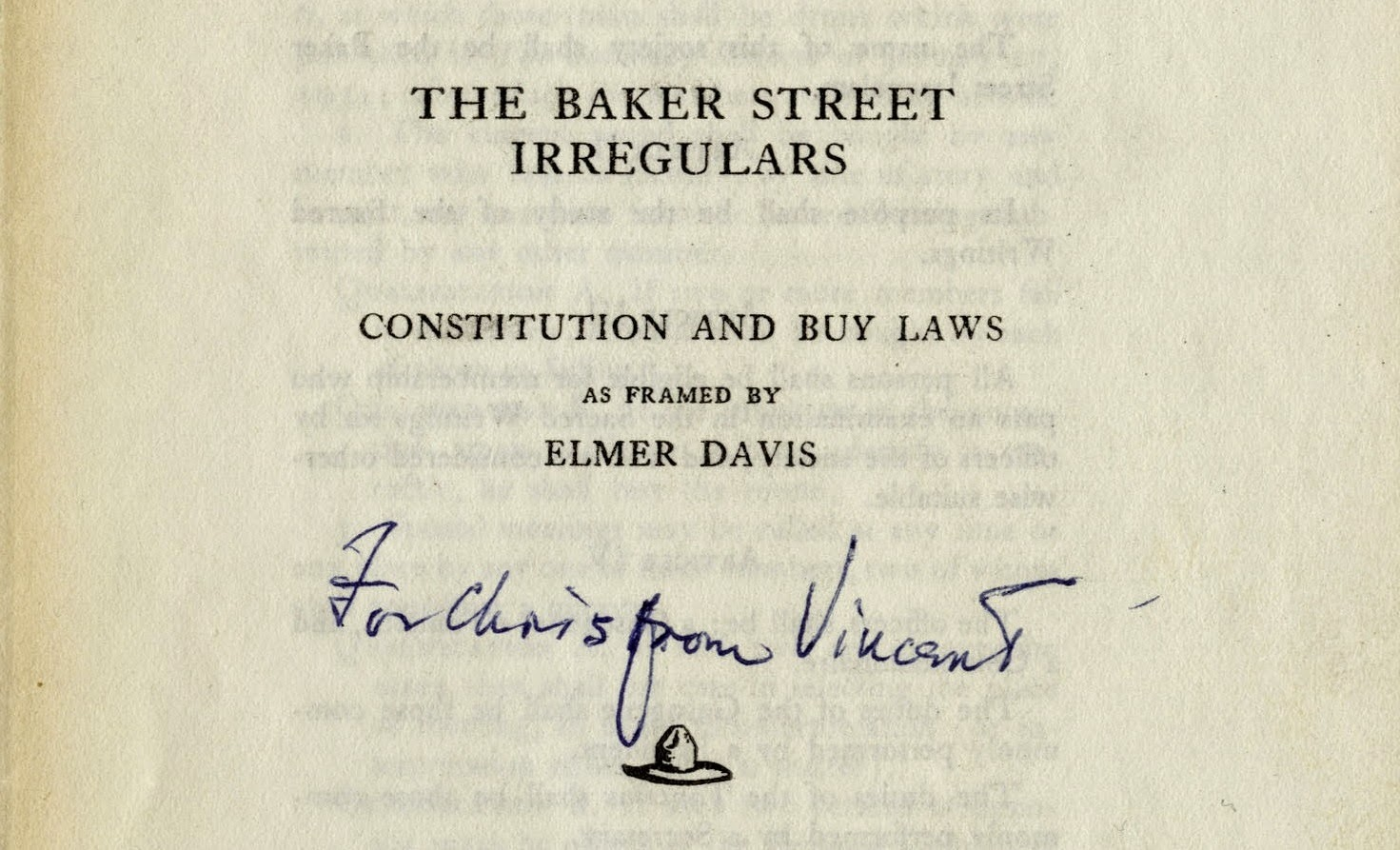 BSI Constitution and Buy Laws - inscribed to Christopher Morley from Vincent Starrett