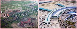 bandara Soekarno-Hatta (kiri) dan bandara Incheon (kanan)