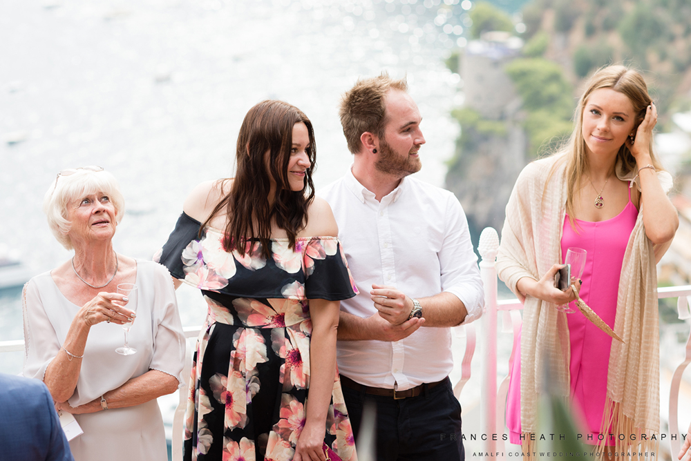 Wedding guests in Positano