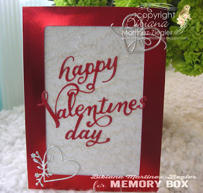Valentines in red card front