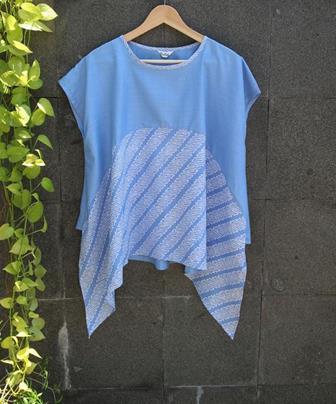 Baju Batik Atasan Kombinasi Polos Terbaru