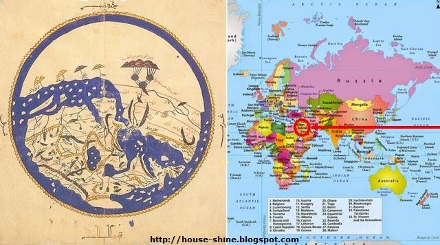 Perbedaan Peta Al Idrisi dan Peta Modern : Pembuatan Peta Dunia Pertama, Penempatan Posisi Peta Pertama, Ka'bah Poros dunia