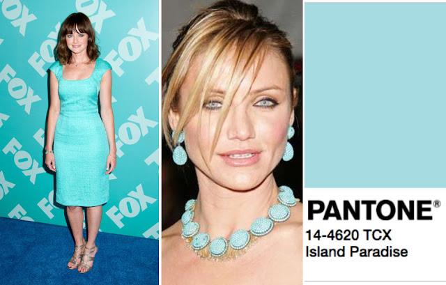 Цвет Pantone 2017 года Island Paradise на брюнетке и блондинке