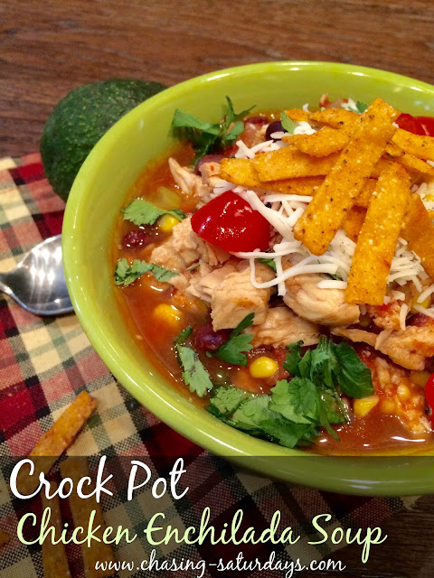 Chasing Saturdays, Crock Pot Chicken Enchilada Soup, Easy Recipe