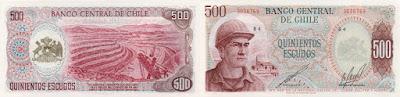 Chile: Billete de 500 escudos chilenos.