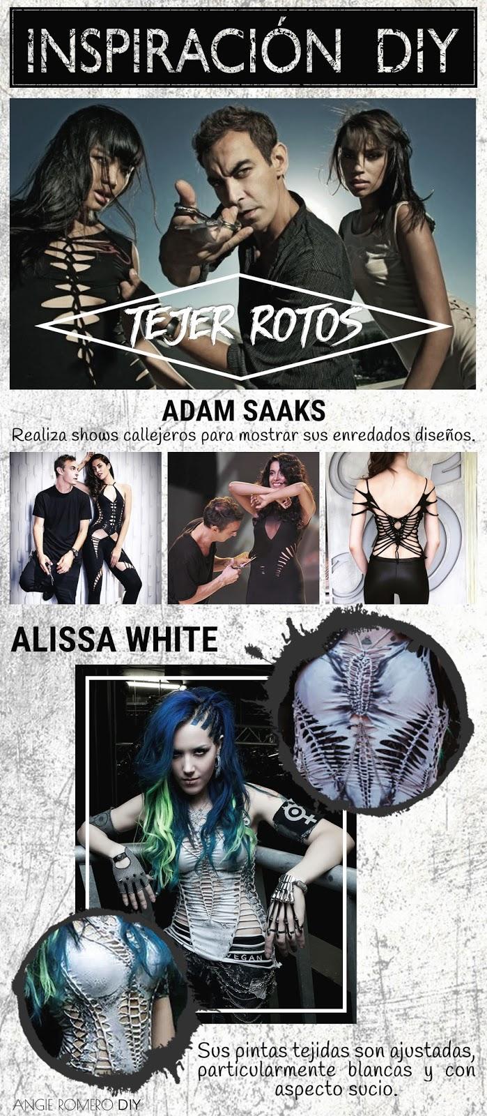 Moda de las camisetas rotas inspirado en Adam Saaks y Alissa White-Gluz