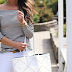 off the shoulder stripes // white tote