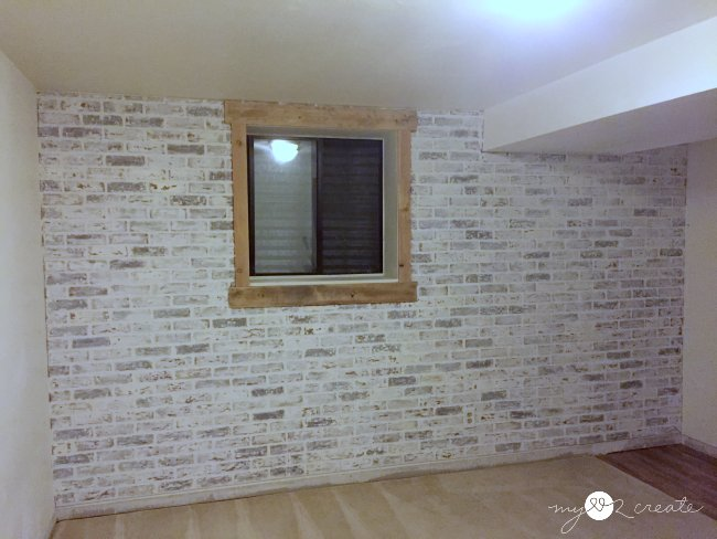 White Faux Brick Wall, One room Challenge week 3, MyLove2Create