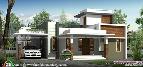 Front view rendering of single floor house