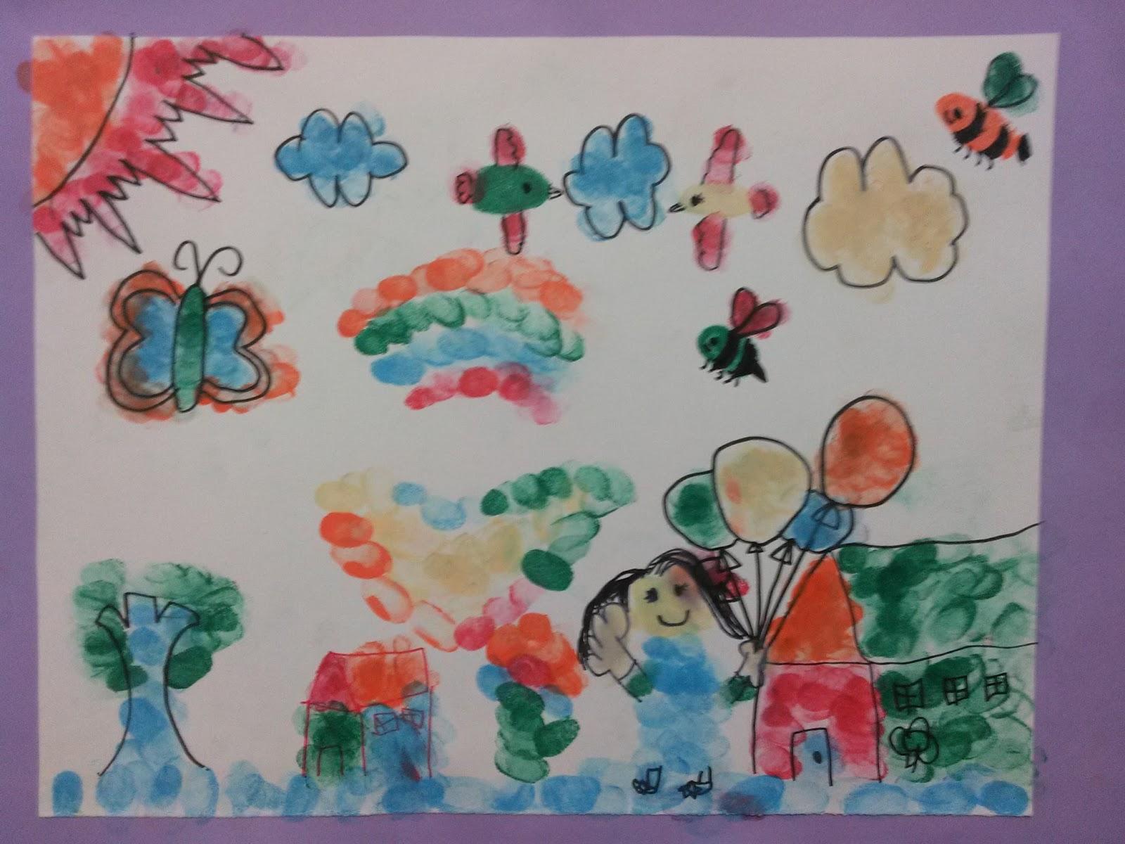 Tantangannya ada pada kemampuan anak2 untuk fokus pada sebuah tema mengembangkan cerita sambil berimajinasi dalam mengubah sebuah cap jari menjadi bentuk