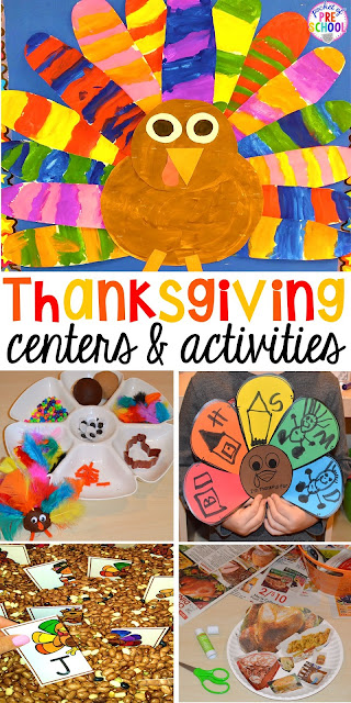 Thanksgiving and turkey themed activities and centers for preschool, pre-k, and kindergarten. (math, literacy, fine motor, character, and more).