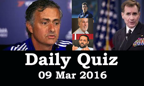 Daily Current Affairs Quiz - 09 Mar 2016