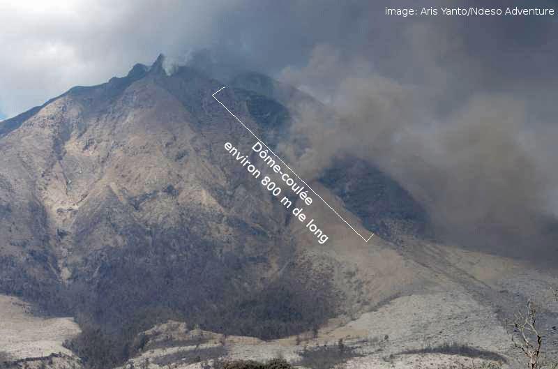 Coulée visqueuse du volcan Sinabung, 26 janvier 2014