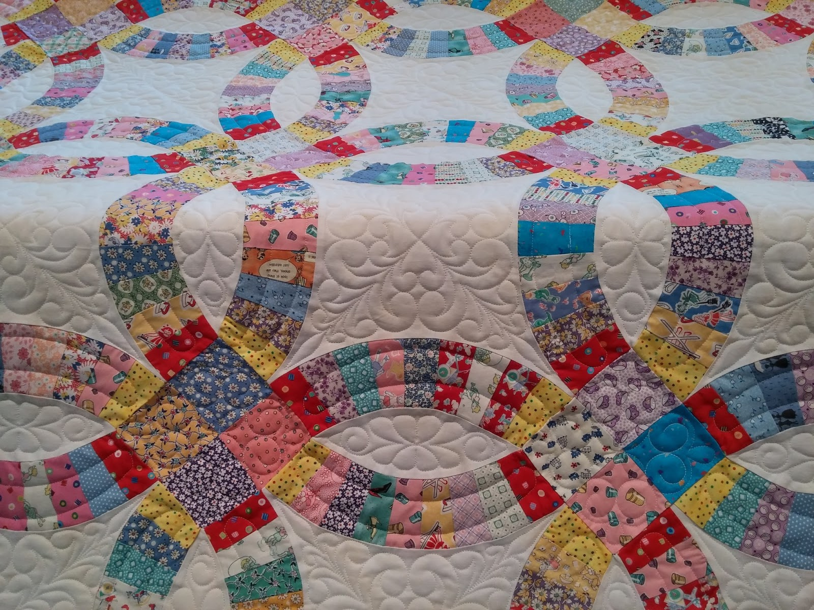 Double Wedding Ring Quilt.Double Wedding Ring Quilt That I Quilted On My Longarm