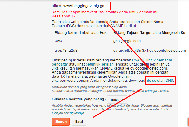 Cara memasang domain ke blogger (costum domain):