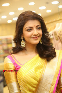 Actress Kajal Agarwal Stills in Golden Silk Saree at Trisha Sesigner Store Launch  0030.jpg