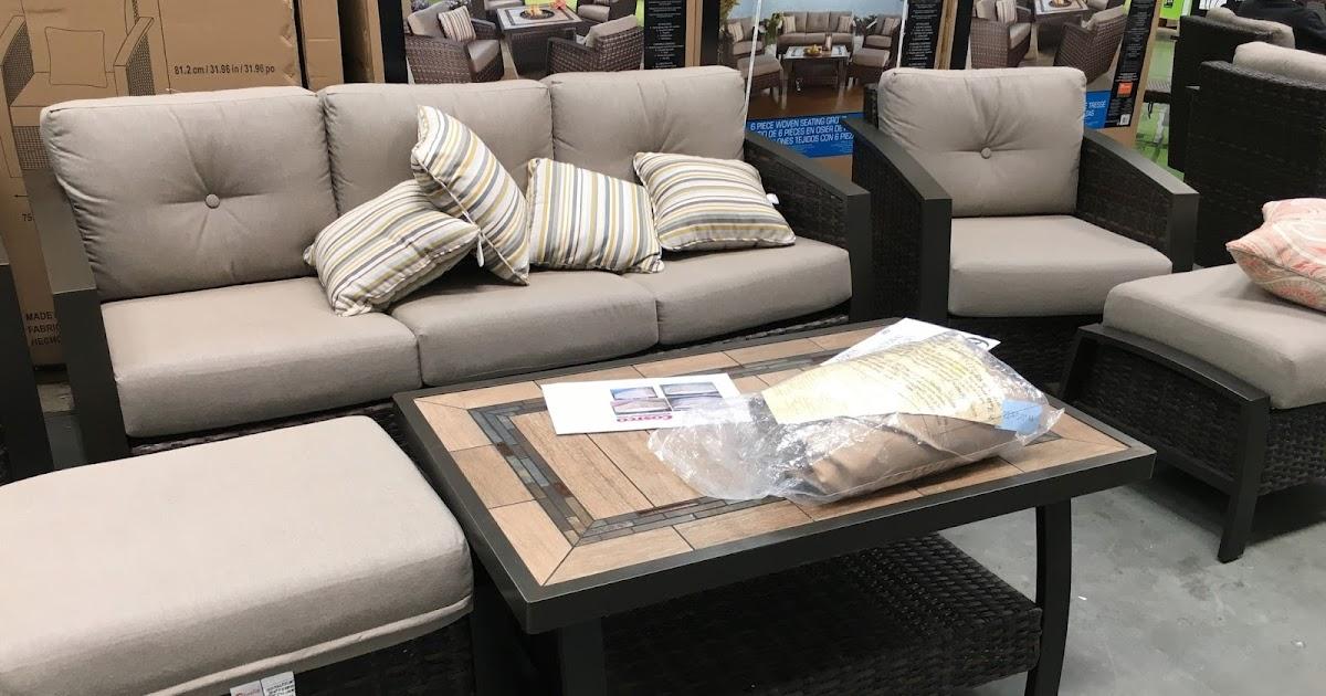 Agio International 6 Piece Woven Deep Seating Group Set Costco Weekender