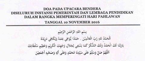 Doa Pada Upacara Bendera Hari Pahlawan 10 November 2016