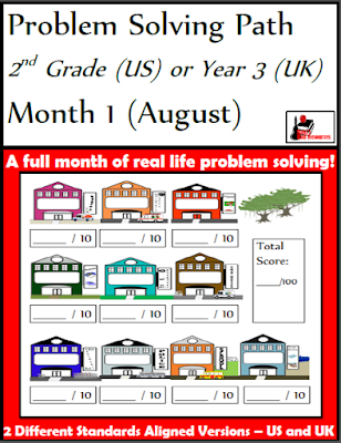 Free problem solving path math journal with 10 word problems for 2nd graders - free resource from Raki's Rad Resources.