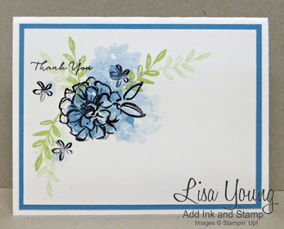 Stampin' Up! What I Love stamp set. Blue floral thank you card. Handmade card by Lisa Young, Add Ink and Stamp
