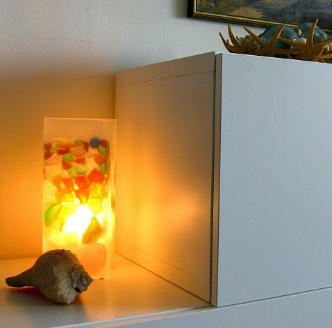 Ikea Grone Lamp Makeover with Sea Glass