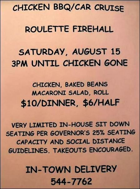 8-15 Chicken BBQ--Car Cruise, Roulette VFD