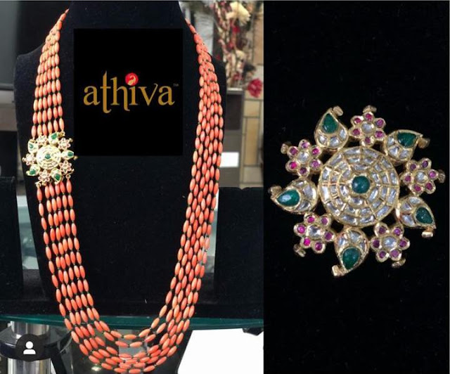 Coral Green Beads Long Chains by Athiva