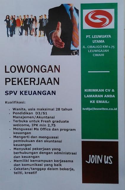 Lowongan Supervisor Keuangan PT Leuwitex