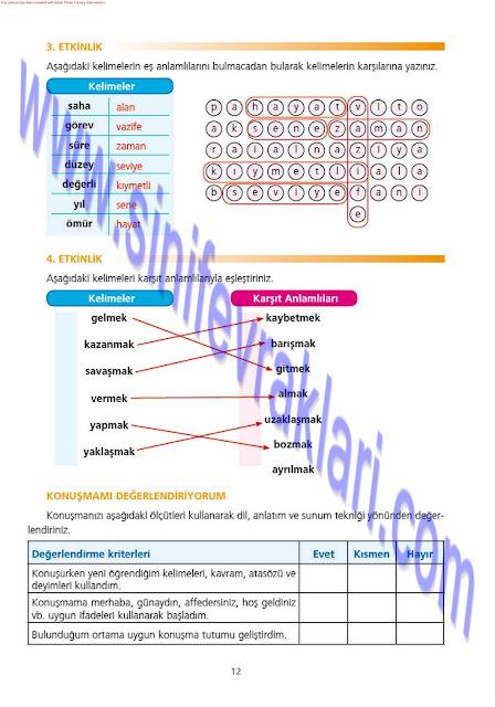 7. Sınıf Türkçe Ezde Yayınları Çalışma Kitabı Cevapları Sayfa 12