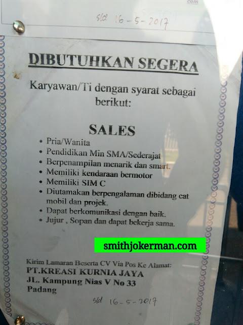 Lowongan Kerja Padang: PT. Kreasi Kurnia Jaya Mei 2017
