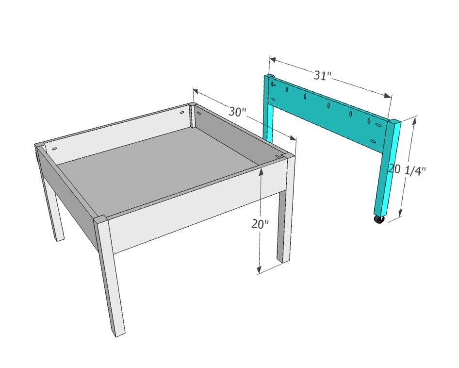 For The Sliding Table Top Sides, Drill Pocket Holes Along The Top And Only  The Front Edge To Attach The Leg, Lining Them Up With The INSIDE Of The  Table ...