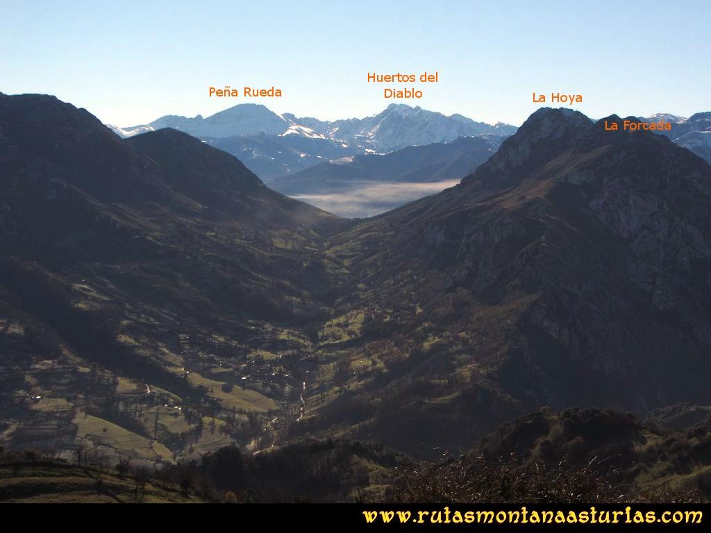 Area Buyera, picos Grandamiana y Plantón: Desde Canto la Cruz, vista de Peña Rueda, Huertos del Diablo y Forcada