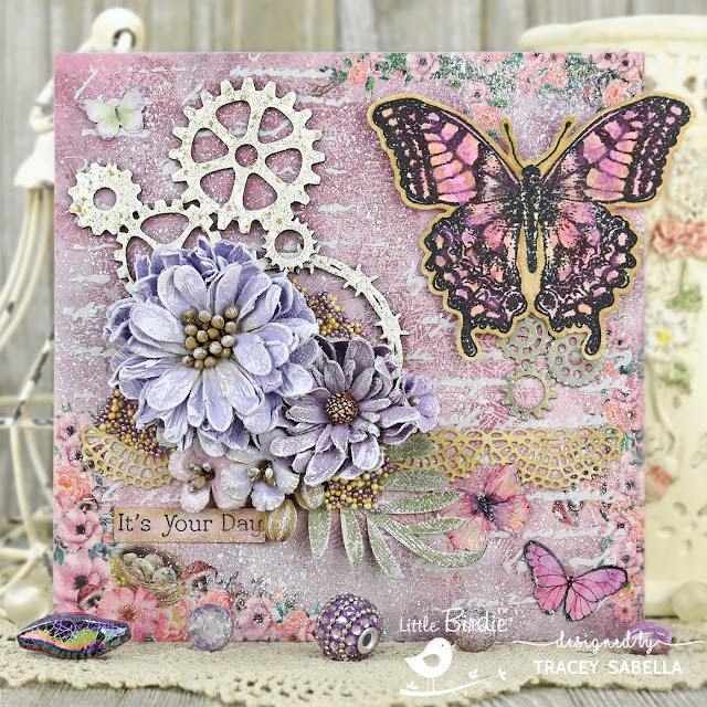 """It's Your Day"" Mixed Media Card by Tracey Sabella for Little Birdie Crafts: #traceysabella #littlebirdiecrafts #littlebirdieonline #littlebirdieflowers #chipboard #watercolor #watercolour #butterfly #butterflies #watercolorbutterfly #vintagelace #mixedmedia #diycard #diycards #diycrafts #diycraft #stencil #stencils #timholtz #sizzix #prills #rangerink #stampendous #shabbychic #steampunk #textureart"